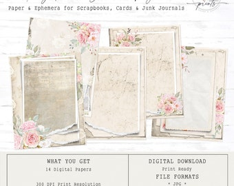 Ivory Rose - Journal Pages | Digital Papers 8.5 x 11 | Vintage | Ephemera | Tags | Pages
