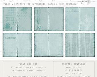 Bridgerton Blues - Junk Journal Kit | Digital Papers 8.5 x 11 |  Vintage | Ephemera | Tags | Pages