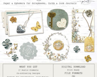 Rustic Floral Scrapbook Elements |  Vintage | Ephemera | Tags | Digital Scrapbook | Junk Journals