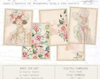 Lady in Red Junk Journal & Ephemera | Digital Papers 8.5 x 11 | Vintage | Ephemera | Tags | Pages