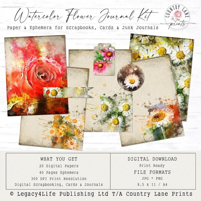 Watercolor Flower Junk Journal  Junk Journal  Digital Papers image 0