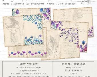 Vintage Meets Modern Junk Journal & Ephemera | Digital Papers 5.5 x 11 | Vintage | Ephemera | Tags | Pages
