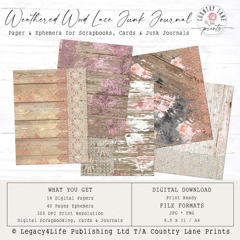 Weathered Wood and Lace Pages  Digital Junk Journal  Pages & image 0