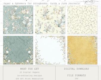 Rustic Floral - Digital Paper | 12 x 12 | 25 Patterns | Scrapbooking | Junk Journals | Card Making |