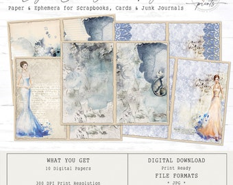 Lady in Blue Junk Journal Pages | Digital Papers 8.5 x 11 | Vintage | Ephemera | Tags | Pages