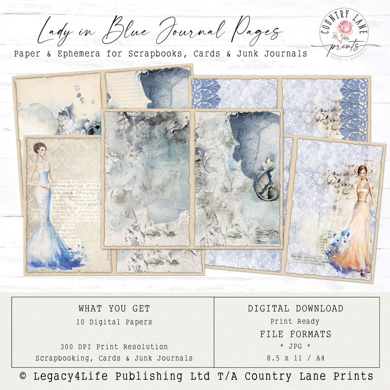 Lady in Blue Junk Journal Pages  Digital Papers 8.5 x 11  image 0