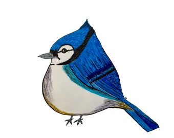 Marvella Bird Pin goldtone wgreen rhinestone eye and coral colored body cute fat bird