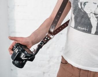 Single Camera Strap Adjustable for DSLR or SLR camera Custom Engraved Gift for Photographer gear Genuine Leather Single Camera Harness