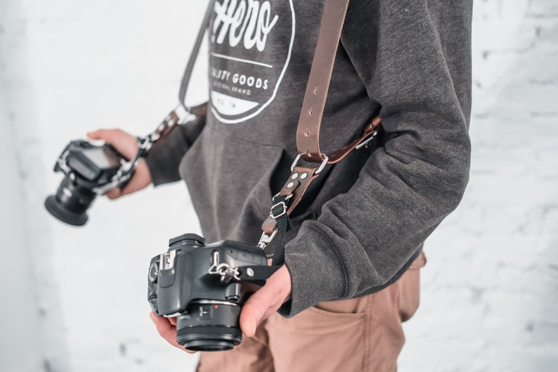 Dual Camera Strap Personalized Adjustable Harness for DSLR or SLR camera Custom Engraved Gift for Photographer