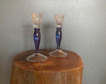 HOLMEGAARD Denmark smoked glass Denmark 1963 Crystal glass Height 3.6 cm 3 pieces designer glass candlesticks  candle holders VINTAGE