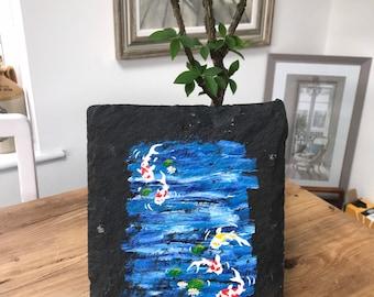 Original hand painted on slate ,Koi Carp in acrylics .