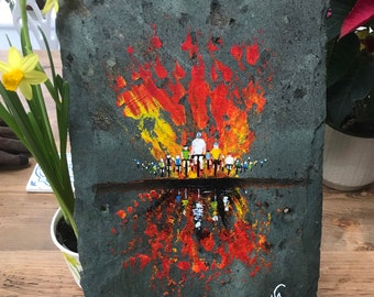 Hand painted on slate,Cycling reflection. Sealed for inside or garden.