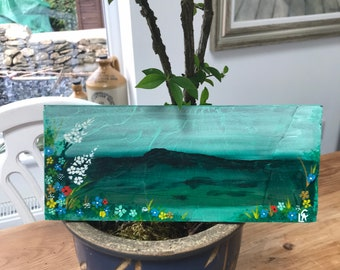 Original hand painted in acrylics on reclaimed slate. Sealed for use outside in garden or in your home.