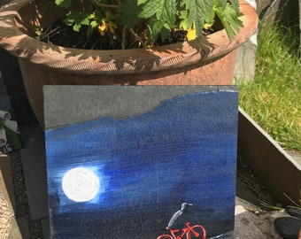 Moonlight Cycling . Hand painted in acrylics by myself on reclaimed slate. Ideal for home or garden