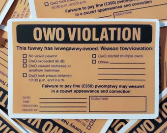 OWO Violation | read description please | Extra Random Sticker With Every Order