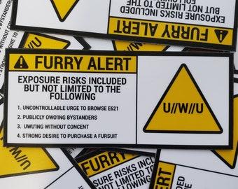 Furry Alert Warning Sticker   Beware of OwO Contamination   Extra Random Sticker With Every Order   Read Desc :D