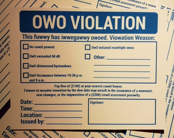 REVISED* OWO Violation   Extra Random Sticker With Every Order   Read Desc :D