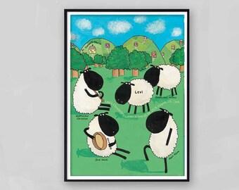 Sheep Christening Gift / Christening Gifts / Personalised Christening / Baby Christening / Christening Art / Godparent Gift / Godparent Art