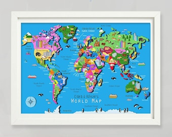 Personalised World Map / World Map / Illustrated World Map / Wall Map / Map / Educational Map / Travel Map / Kids Wall Art / Carla Daly