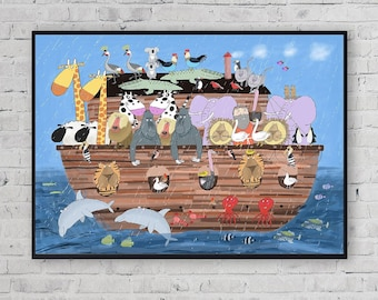 Noah's Ark / Animals Ark / Ark Wall Art / Noah's Animals / Kids Wall Art / Kids Wall Decor / Children's Art / Carla Daly / Irish Art