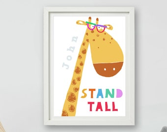 Personalised Nursery Art / Stand Tall / Name Print / Kid Wall Art / Giraffe / Giraffe Nursery / Giraffe Gift /  Artist / Carla Daly