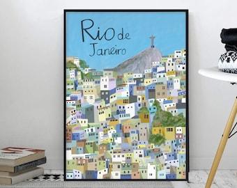 Rio de Janeiro / Rio / Brazil / Christ The Redeemer / Cristo Redentor / Favela / Travel Poster / Wall Art / Wall Decor / Illustration