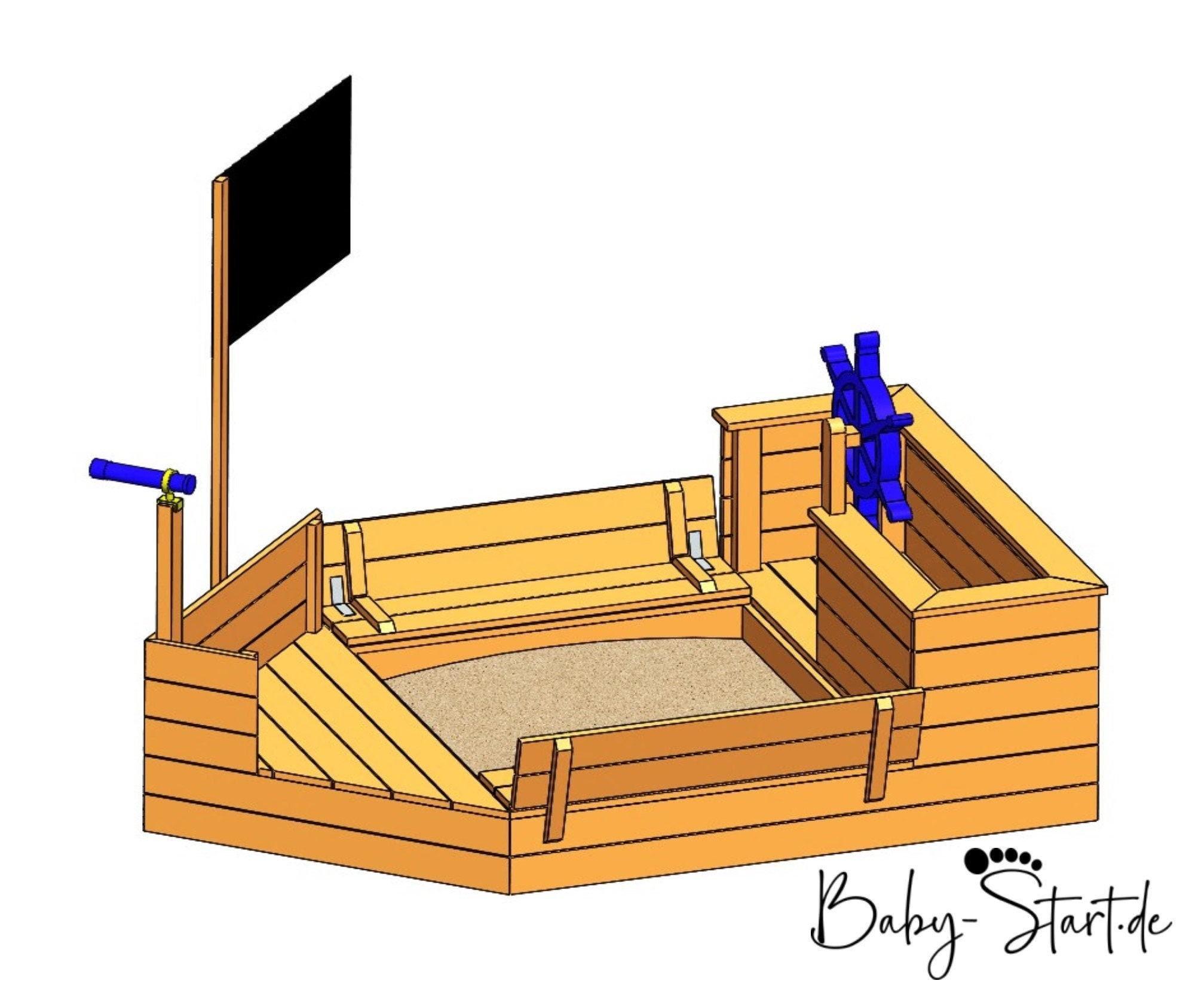 Sandkasten Piratenschiff mit Sitzbank und Deckel / Kinder Spielturm / DIY /  Schritt für Schritt Bauanleitung / PDF Download / 8 Seiten