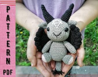 PDF CROCHET PATTERN Baphomet, occult toy, cute little goat, baby baphomet , baphomet amigurumi, cute baphomet, crochet baphomet, tutorial
