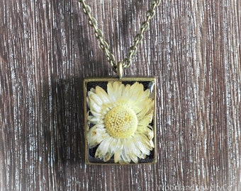Footprint Boho Floral Gift Stamp Natural White Clay Pendant Golden fields Aroma Necklace