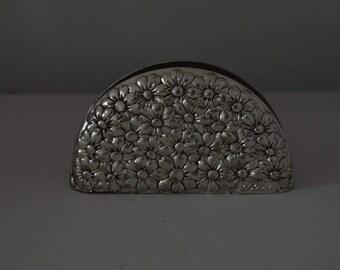 Letter Rack Serviette Holder Unique Design with Faux Gemstones Vintage Silver Metal Napkin Rack Holder