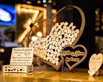 Wedding Guest Book, Heart Shape Guest Book, Rustic Guest Book, Wedding Guest Book Alternative, Boho Wedding Guest Book, Double Heart DropBox