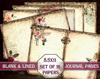 Flowers Blank Lined Journal Pages,  Junk Journal Kit, Printable Paper, Digital Kit, Junk Journal, Ephemera, Vintage, Download