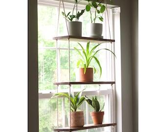 Window Plant Shelf | Hanging Window Shelf {3 tiered} | Window Floating Shelves | Tiered Wall Shelf | Hanging Planter | Hanging Rope Shelves