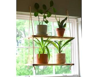 Hanging Window Shelves | Window Plant Shelf {2 Tiered} | Window Floating Shelves | Tiered Wall Shelf | Tiered Planter | Rope Shelves