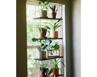 Window Plant Shelf | Tiered Plant Shelf {4 Tier} | Window Floating Shelves | Hanging Planter | Boho Hanging Planter | Rope Shelves