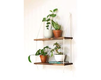 Hanging Plant Shelf | Tiered Wall Shelf | Hanging Wall Shelves | Tiered Planter | Rope Shelves | Tiered Floating Shelf Hanging Boho Shelves