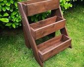 Stepped Garden Planter 39 Maxi 39 60cm - 3 Tier Wooden Herb Planter - Plant Stand