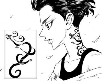 Mikey fake tattoo Tokyo Revengers anime manga merch Manjirou Sano cosplay Japan kawaii stickers Manji Gang Dark black aesthetic Otaku gift