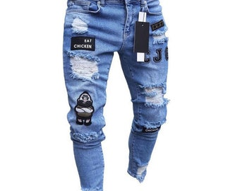 Blue Juliette Scroll Peek a Boo  IRON ON denim backed Patches Super Strong by Holey Patches Assorted Sizes