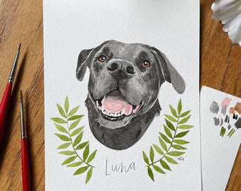 """Watercolor Pet Portrait - 5x7""""   Pet Portrait Custom   Pet Memorial   Pet Lover Gift"""