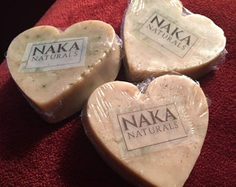 Heart Oatmeal Clove Essential Oil Soap - Handmade - All Natural Oils and Pigment