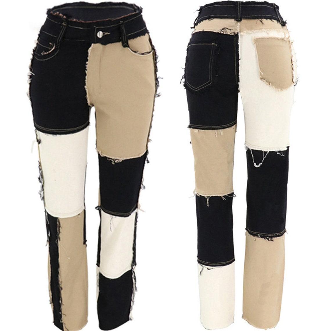Trend Setter Patchwork Straight Leg Jeans 2021 Damen   Etsy