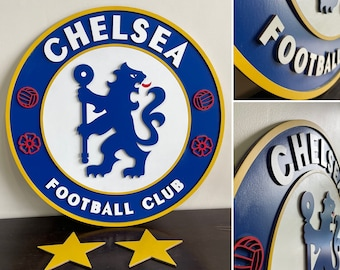 Chelsea FC Wooden Wall hanging (With Stars)