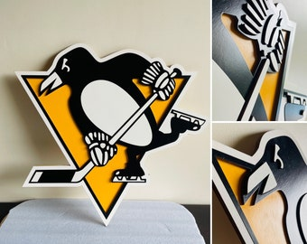 Pittsburgh Penguins 3D wooden crest wall hanging