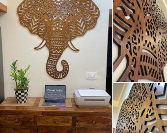 3D Elephant Head Designer Wooden Wall Hanging