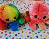Octopus plush, reversible happy and grumpy faces