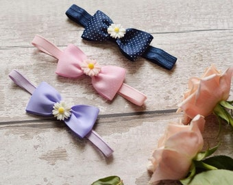 Pink and White Daisy Faux Leather Bow Barrette