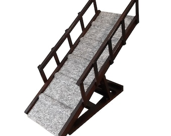 Pet Ramp with Foldable Rails | 4 Height Levels | Adjustable | Steps
