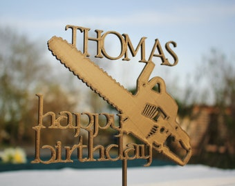 Lumberjack Woodworker Chainsaw with Name Personalized Happy Birthday Cake Topper