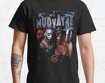 Vintage 00s mudvayne line up image rare design box logo american heavy metal band album tour singles horror gothic promo t-shirts